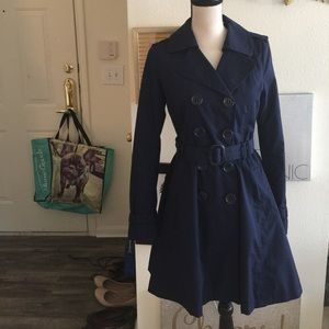 H&M navy blue belted trench coat
